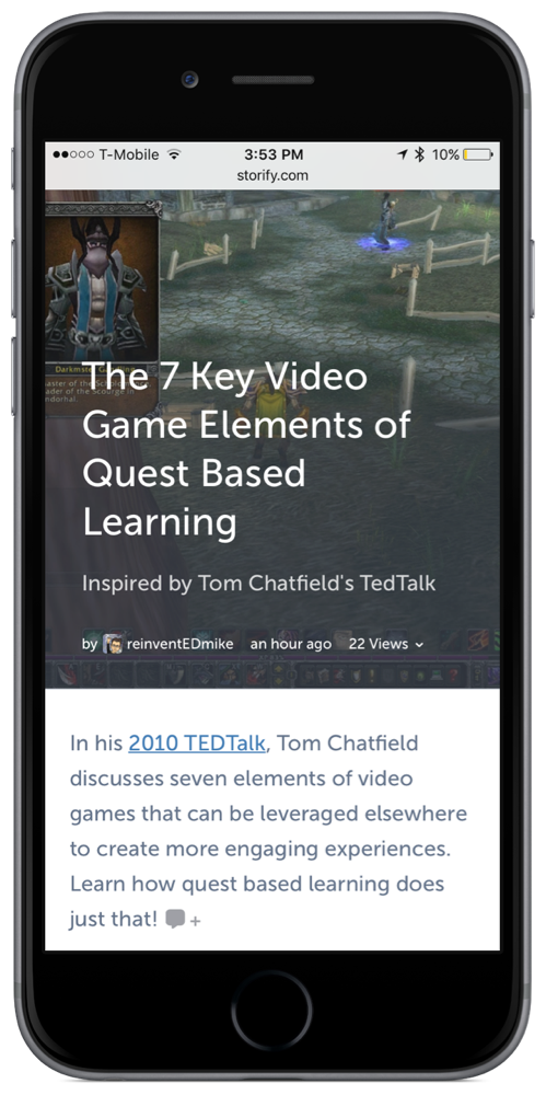 A Quest Based Learning Storify Story shown on iPhone