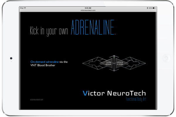 """Ad for fictional Victor NeuroTech product """"kick in your own adrenaline"""""""